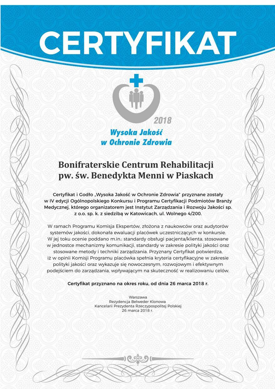 certyfikat Wysoka Jakość min