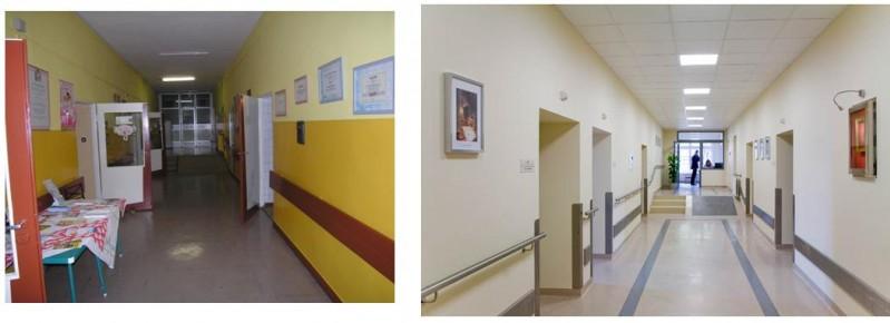 I piętro- dojście do bloku porodowego-zdjęcie z lewej przed remontem, zdjęcie z prawej po remoncie