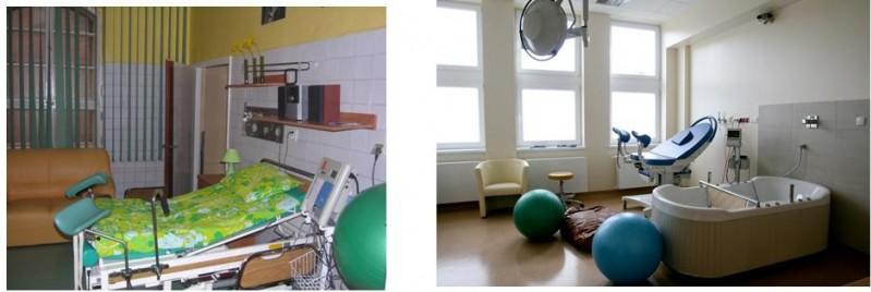 II piętro- sala porodowa – zdjęcie z lewej przed remontem, zdjęcie z prawej po remoncie