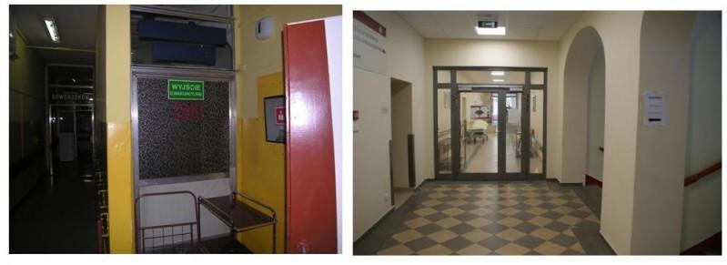 II piętro- strefy przeciwpożarowe -zdjęcie z lewej przed remontem, zdjęcie z prawej po remoncie