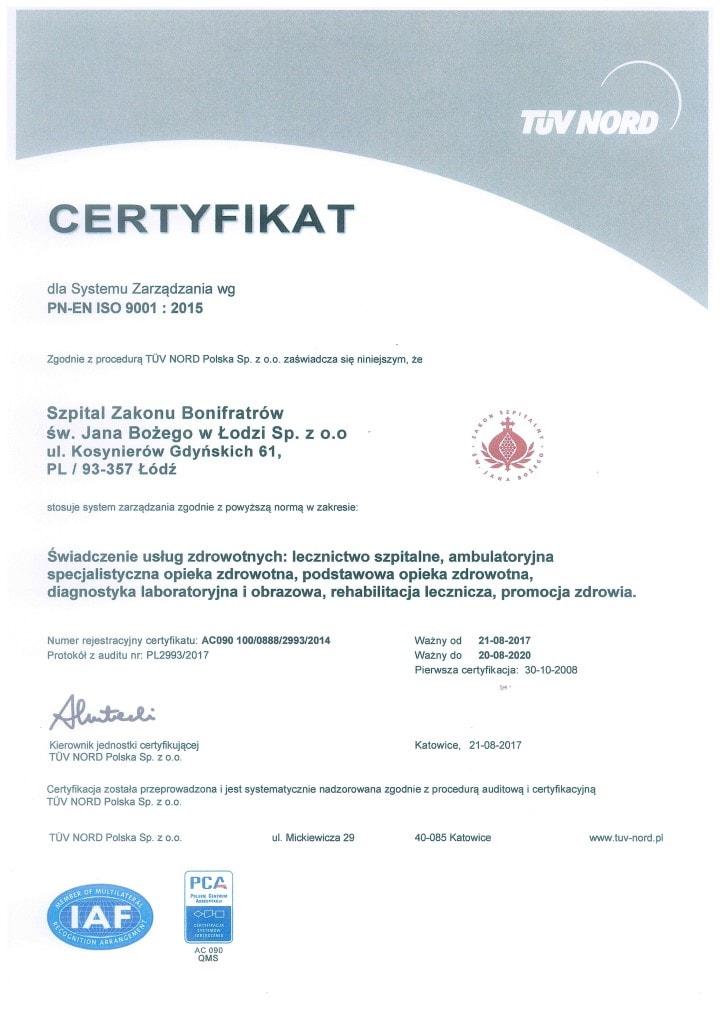 Certyfikat ISO Bonifratrzy