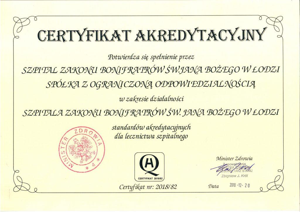 Certyfikat Akredytacyjny Ministra Zdrowia